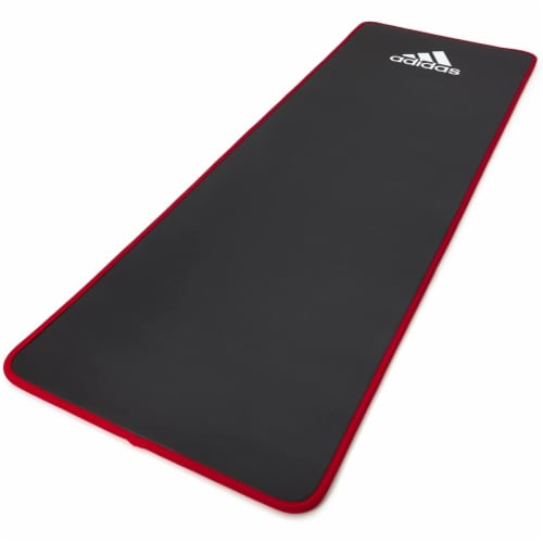 Adidas Training Mat Versatile Cushioned Exercise Yoga Mat with Carry Strap, Red Perspective: front