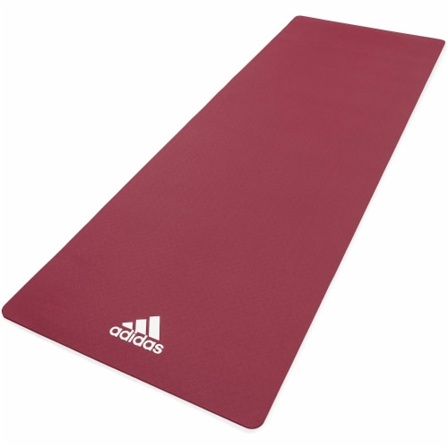 Adidas Universal Exercise Slip Resistant Fitness Yoga Mat, 8mm, Mystery Ruby Perspective: front