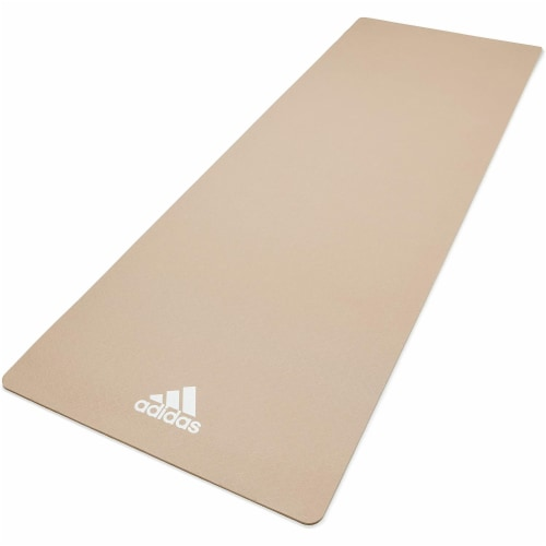 Adidas Universal Exercise Slip Resistant Fitness Yoga Mat, 8mm, Vapor Grey Perspective: front