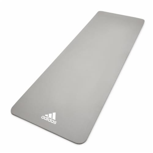Adidas Universal Exercise Slip Resistant Fitness Yoga Mat, 8mm Thick, Grey Perspective: front