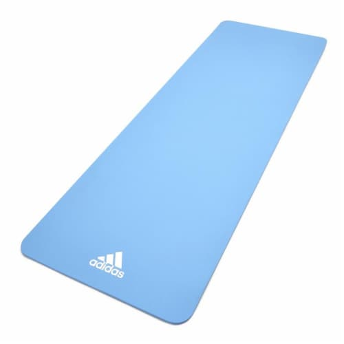 Adidas Universal Exercise Slip Resistant Fitness Yoga Mat, 8mm Thick, Glow Blue Perspective: front