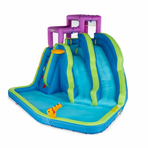Kahuna 90793 Twin Falls Outdoor Inflatable Splash Pool Backyard Water Slide Park Perspective: front