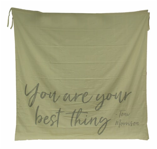 You Are Your Best Thing TIe-On Cotton Fabric Shower Curtain Perspective: front