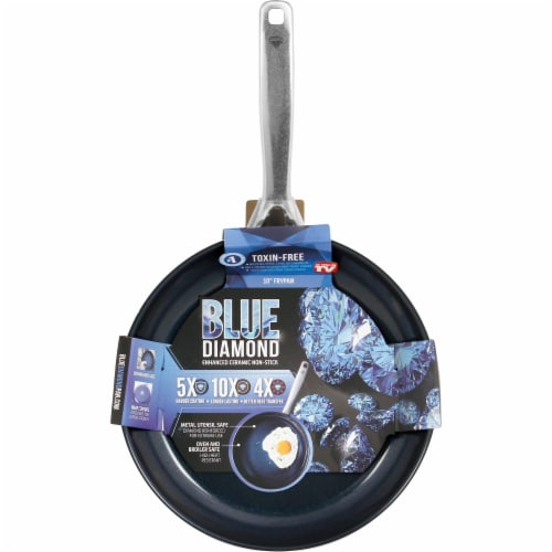 Blue Diamond Enhanced Ceramic Non-Stick Frypan - Blue Perspective: front