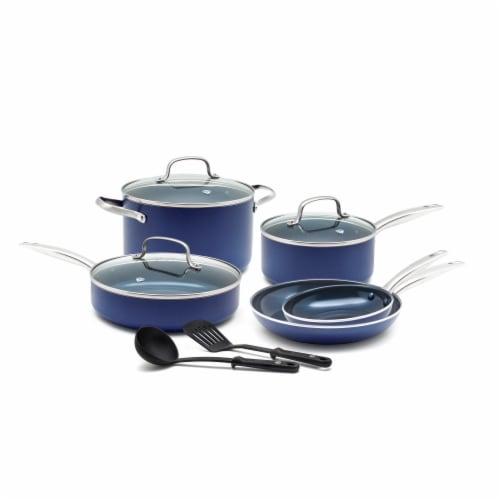 Blue Diamond Cookware Set - Blue Perspective: front