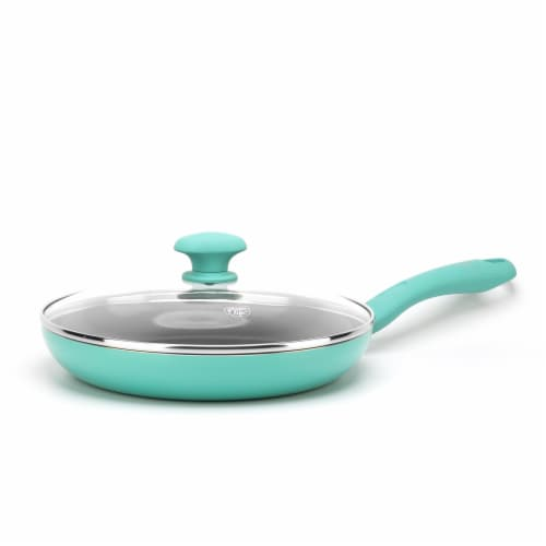 GreenLife Diamond Ceramic Non-Stick Covered Frying Pan - Turquoise Perspective: front