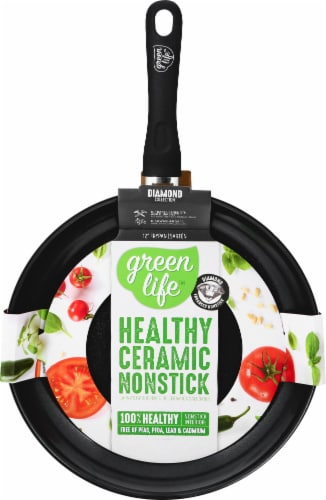 GreenLife Diamond Ceramic Non-Stick Open Fry Pan - Black Perspective: front