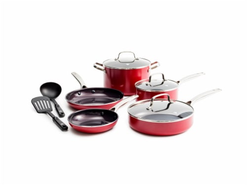 Blue Diamond Cookware Set - Red Perspective: front