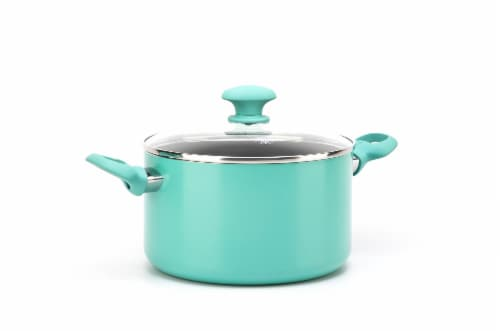 GreenLife Diamond Ceramic Non-Stick Stock Pot - Turquoise Perspective: front