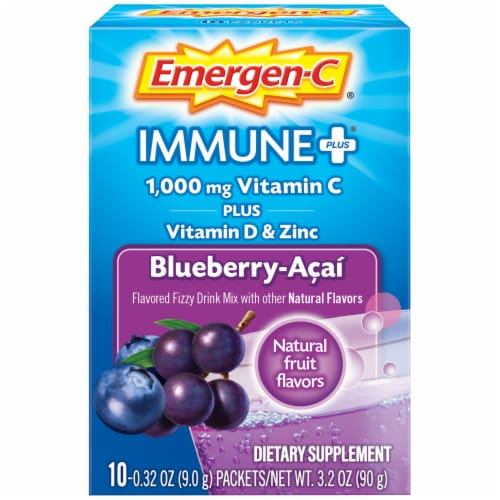 Emergen-C Immune Plus Blueberry-Acai Flavored Fizzy Drink Mix Packets Perspective: front