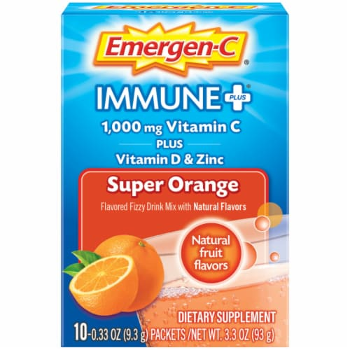 Emergen-C Immune Plus Super Orange System Support Drink Mix Packets 1000mg Perspective: front