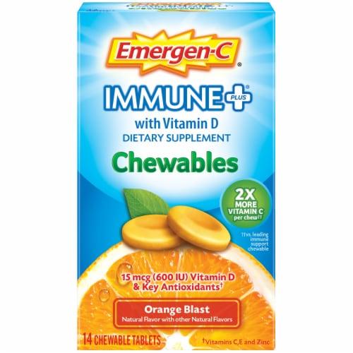Emergen-C Immune+ Orange Blast Dietary Supplement Chewables 15mcg 14 Count Perspective: front
