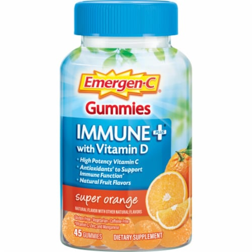 Emergen-C Immune Plus Super Orange Dietary Supplement Gummies Perspective: front