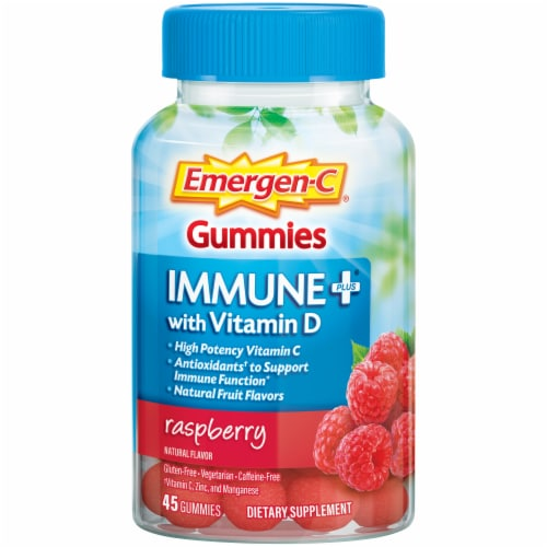 Emergen-C Immune+ with Vitamin D Raspberry Dietary Supplement Gummies Perspective: front