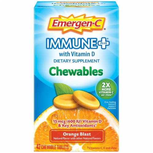 Emergen-C Immune+ Orange Blast Chewables 15mcg 42 Count Perspective: front