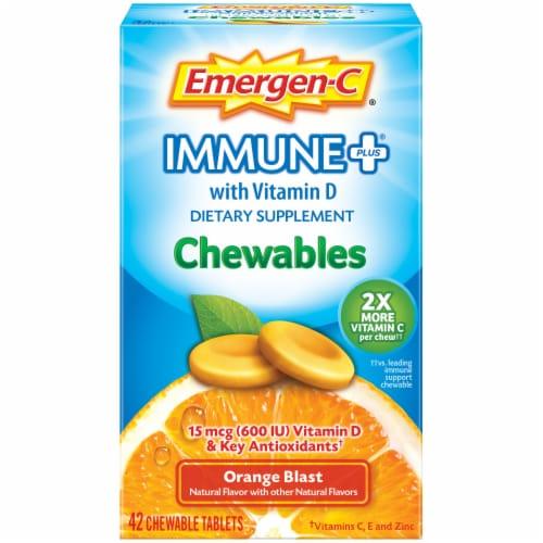 Emergen-C Immune+ Orange Blast Chewables 15mcg 42 Count Perspective: front