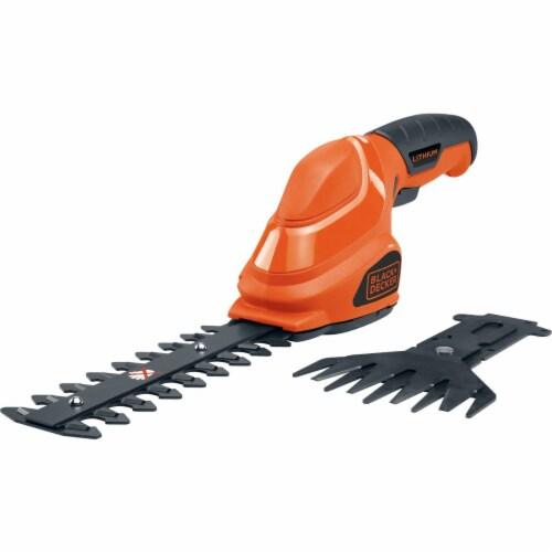 BLACK + DECKER 2 In 1 Cordless Garden Shear/Shrubber Combo - Orange/Black Perspective: front
