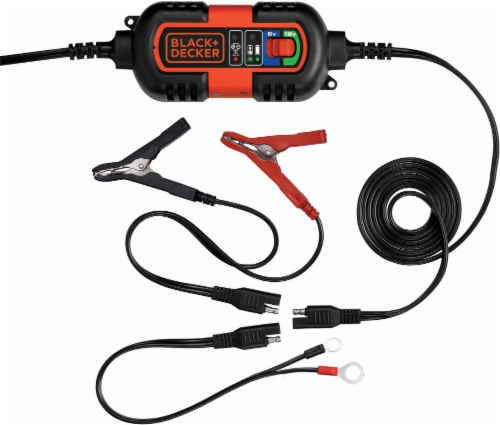 BLACK + DECKER Battery Maintainer and Trickle Charger - Black/Orange Perspective: front