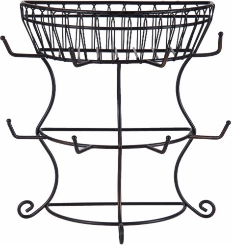 Mikasa Gourmet Basics Mug Tree with Basket - Black Perspective: front