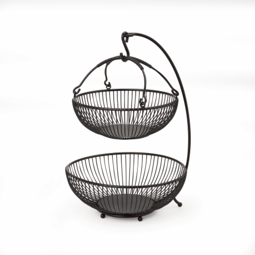 Mikasa Gourmet Basics Spindle 2-Tier Basket with Banana Hook - 3 Piece Perspective: front