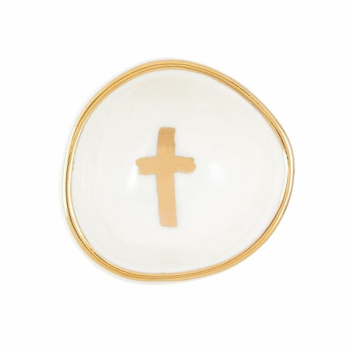 Christian Brands G4128 Porcelain Ring Dish Bowls - Gold CrossPack of 2 Perspective: front