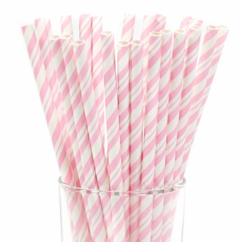 Creative Converting 252617 Classic Pink & White Striped Paper Straws, Pink & White Perspective: front