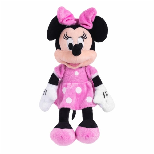 Disney Minnie Mouse 11 inch Child Plush Toy Stuffed Character Doll in Pink Dress Perspective: front