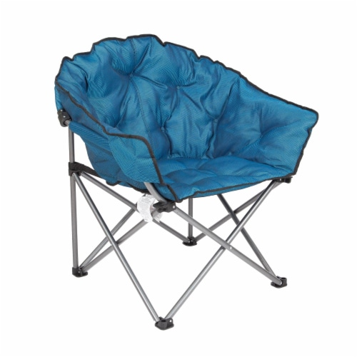 Mac Sports Folding Portable Padded Outdoor Club Camping Chair with Bag, Blue Perspective: front