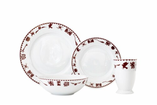 Harry Potter Creatures & Icons Dinnerware Sets | 4-Piece Ceramic Dinner Set Perspective: front