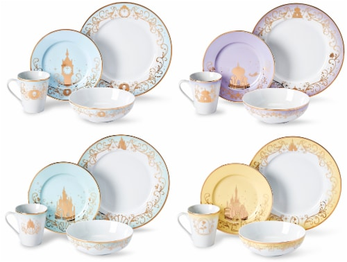 Disney Princess Themed 16 Piece Ceramic Dinnerware Set Collection 1 | Plates | Bowls | Mugs Perspective: front