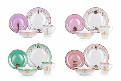 Disney Princess Themed 16 Piece Ceramic Dinnerware Set Collection 2 | Plates, Bowls, Mugs Perspective: front