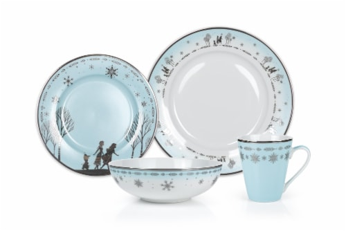 Disney Frozen 2 Anna & Elsa Ceramic Dining Set Collection | 16-Piece Dinner Set Perspective: front