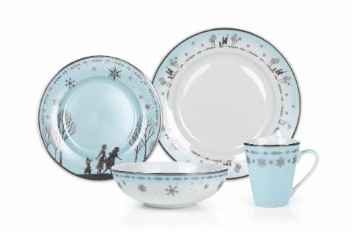 Disney Frozen 2 Anna & Elsa Ceramic Dining Set Collection | 16-Piece Dinner Set Perspective: front