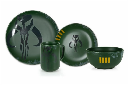 Star Wars Boba Fett Mandalorian Stoneware Plates & Bowl Collection | 4-Piece Set Perspective: front