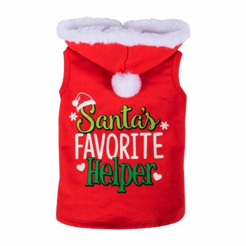 Simply Dog Red Santa's Favorite Helper Hoodie Perspective: front