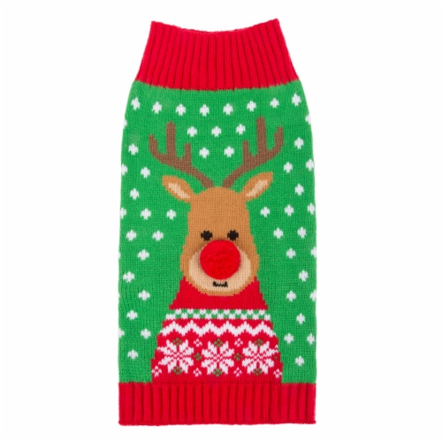 Simply Dog Small Green Reindeer Pet Sweater Perspective: front