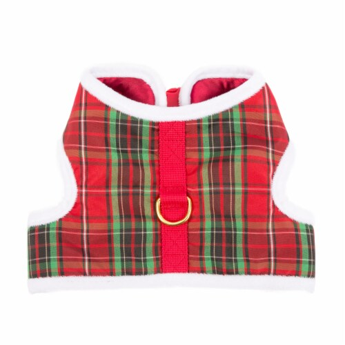 Simply Dog Mission Pets Plaid Fuzzy Trim Wrap Harness - Red Perspective: front