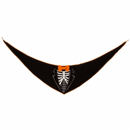 Simply Dog Medium-Large Dandy Skeleton Pet Bandana Perspective: front