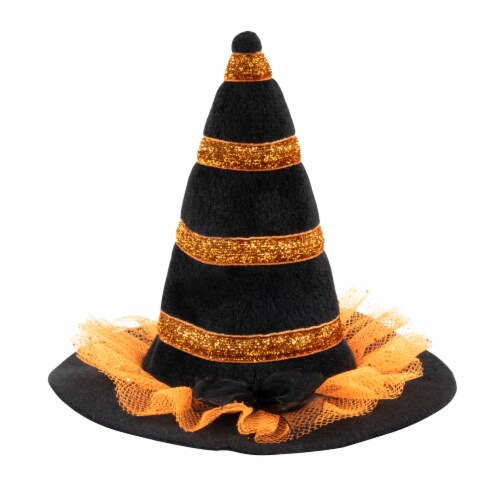 Simply Dog Extra Small-Small Striped Glittery Witch Hat Pet Accessory Perspective: front