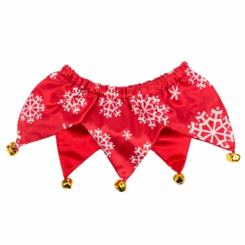 Simply Dog Mission Pets Snowflake Red Bell Scrunchie Perspective: front