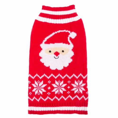 Simply Dog Red Santa Snowflake Sweater Perspective: front