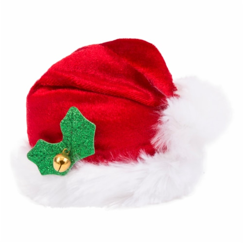 Simply Dog Mission Pets Red Santa Bell Hat Perspective: front