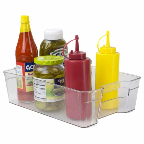 Stackable Large Plastic Fridge Pantry and Closet Organization Bin with Handles Perspective: front