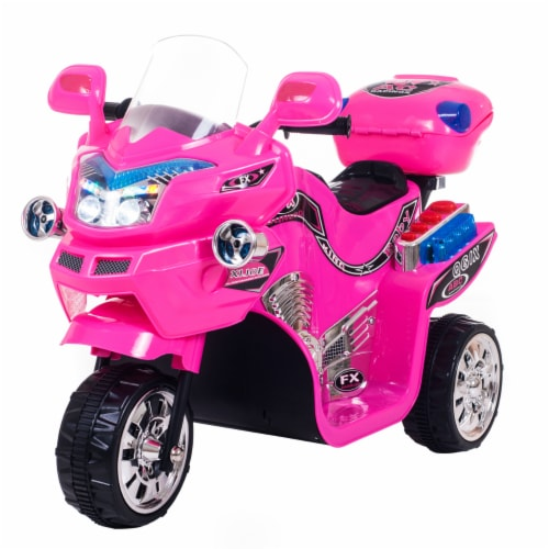 Lil' Rider FX 3 Motorcycle Wheel Battery Powered Bike - Pink Ride on Toy 2-4 Yrs Toddler Perspective: front