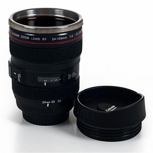 Camera Lens Coffee Mug with Lid by Whetstone Perspective: front