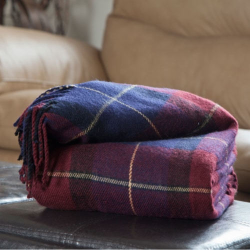 Lavish Home Cashmere-Like Blanket Throw - Blue/Red Plaid Perspective: front