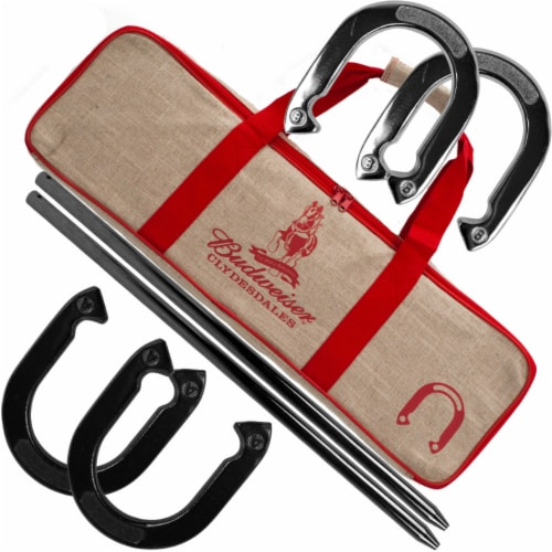 Budweiser Horseshoe Set with Carry Case Perspective: front