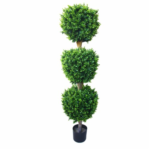 Triple Ball Artificial Tree Indoor Outdoor Fake Plant  Hedyotis Faux Planted Topiary Perspective: front