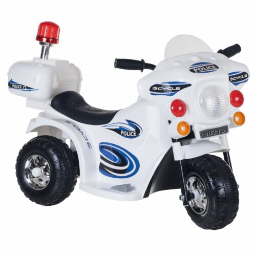 Lil' Rider Three Wheeled Motorcycle Ride-on - White Motorbike Battery Operated Ride on Toy Perspective: front