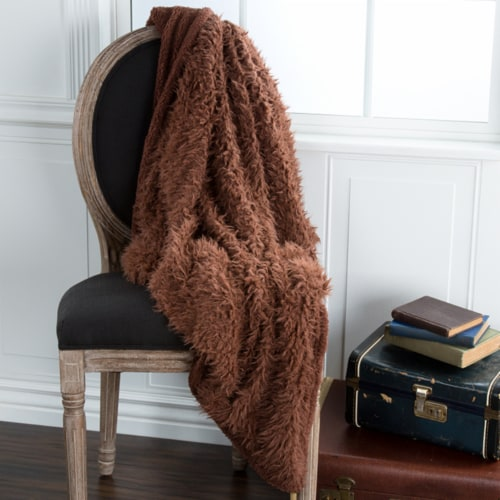 Lavish Home Solid Soft Plush Sherpa Fleece Throw Blanket - Coffee Perspective: front